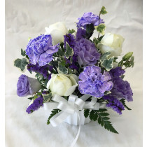 御供え用洋花アレンジメント(紫・白)