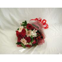 赤とピンクの花束